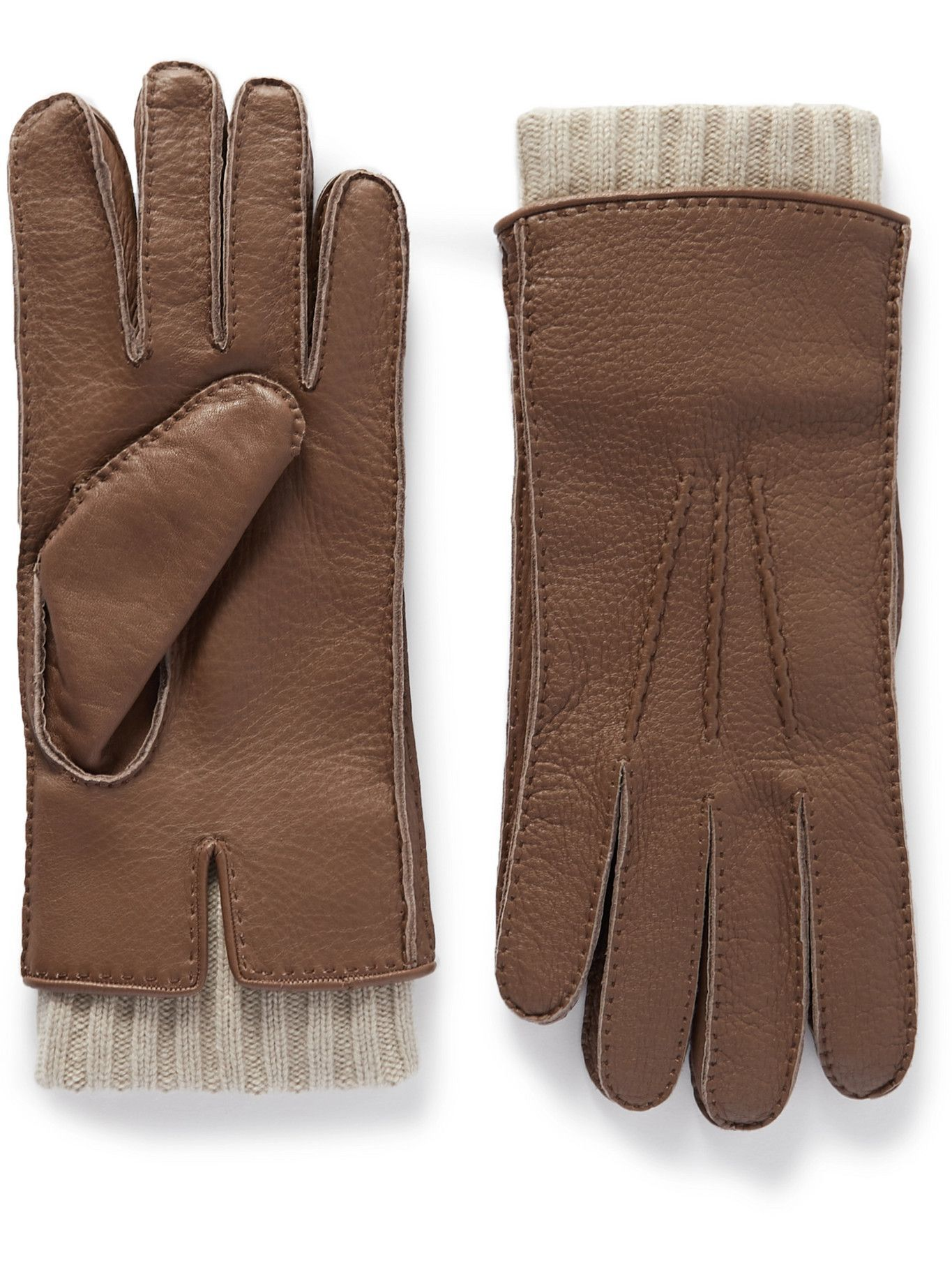 Photo: Loro Piana - Adler Cashmere-Lined Leather Gloves - Brown
