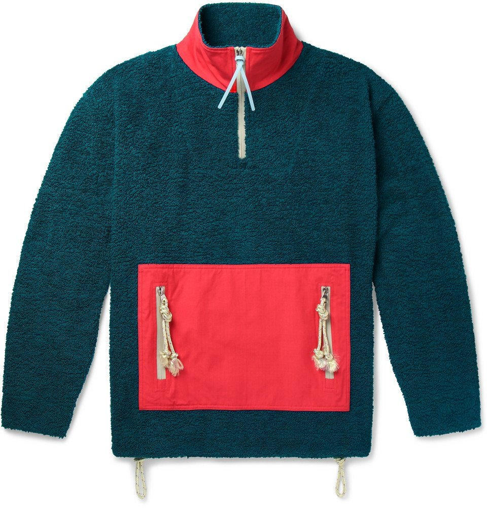 Photo: Acne Studios - Faraz Cotton-Panelled Fleece Half-Zip Jacket - Teal