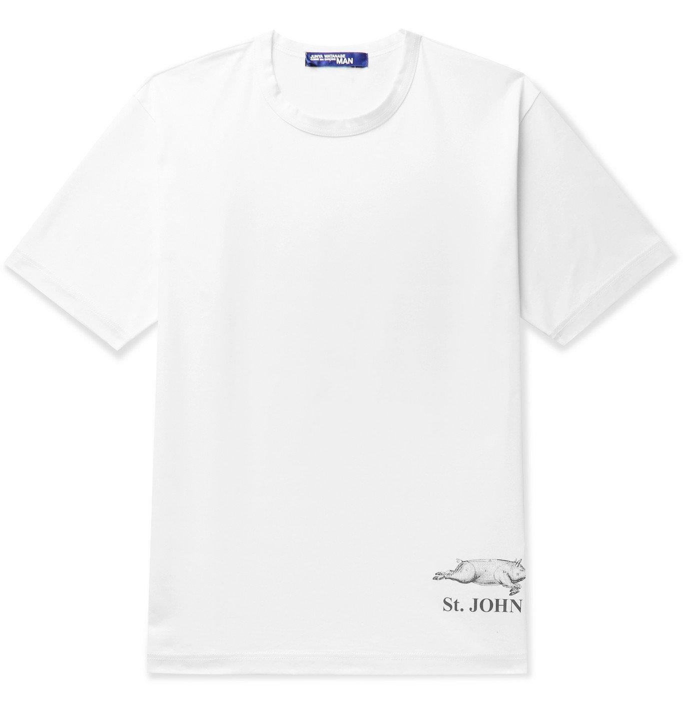 Photo: Junya Watanabe - Printed Cotton-Jersey T-Shirt - White