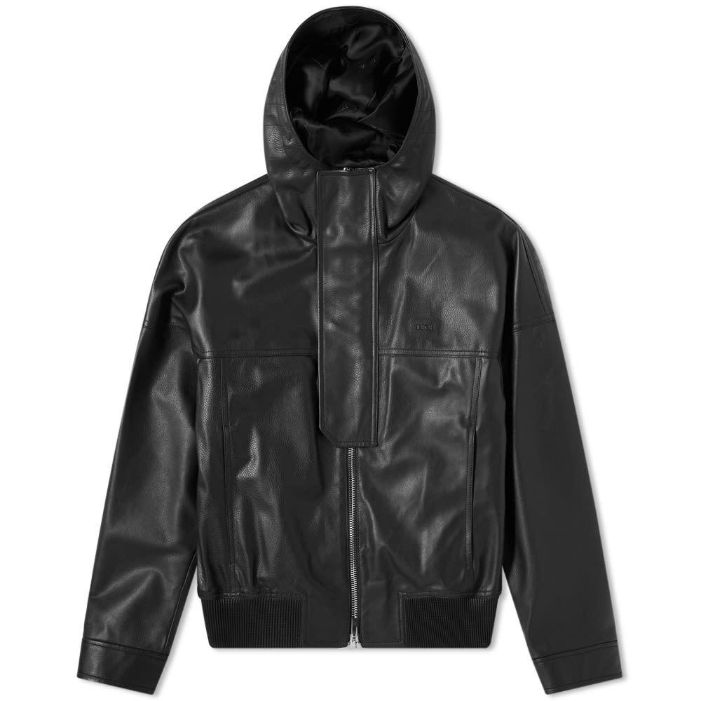 Photo: Dior Hooded Logo Leather Jacket
