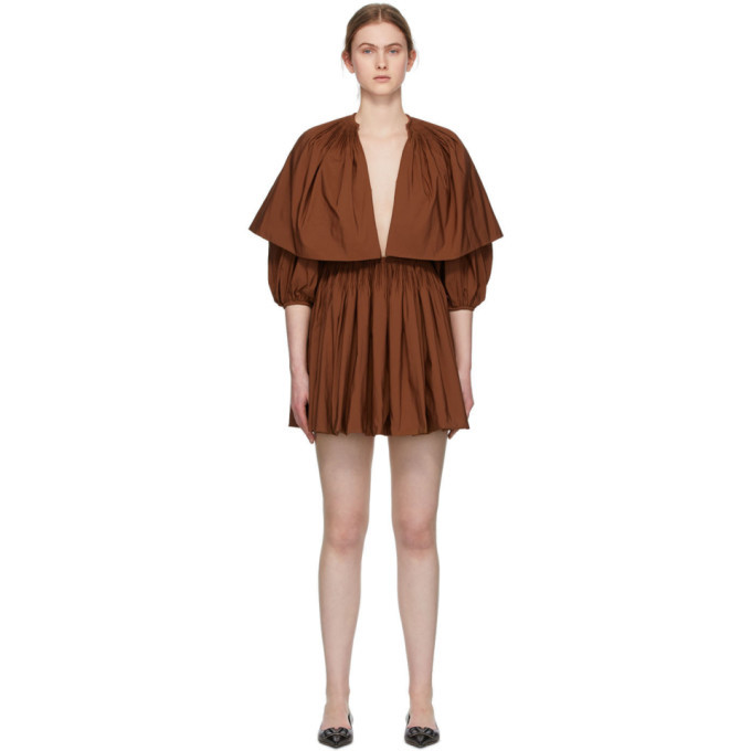 Photo: Valentino Brown Pleated V-Neck Mini Dress