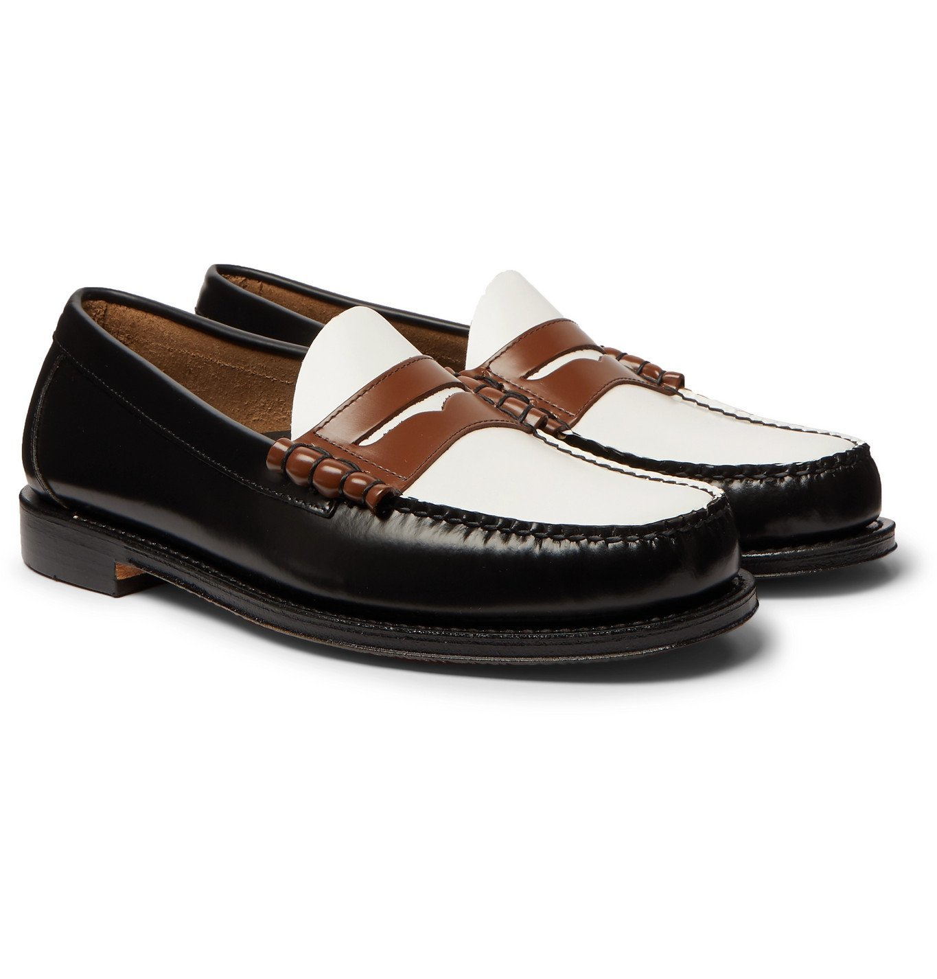 Photo: G.H. Bass & Co. - Weejuns Heritage Larson Colour-Block Leather Penny Loafers - Black