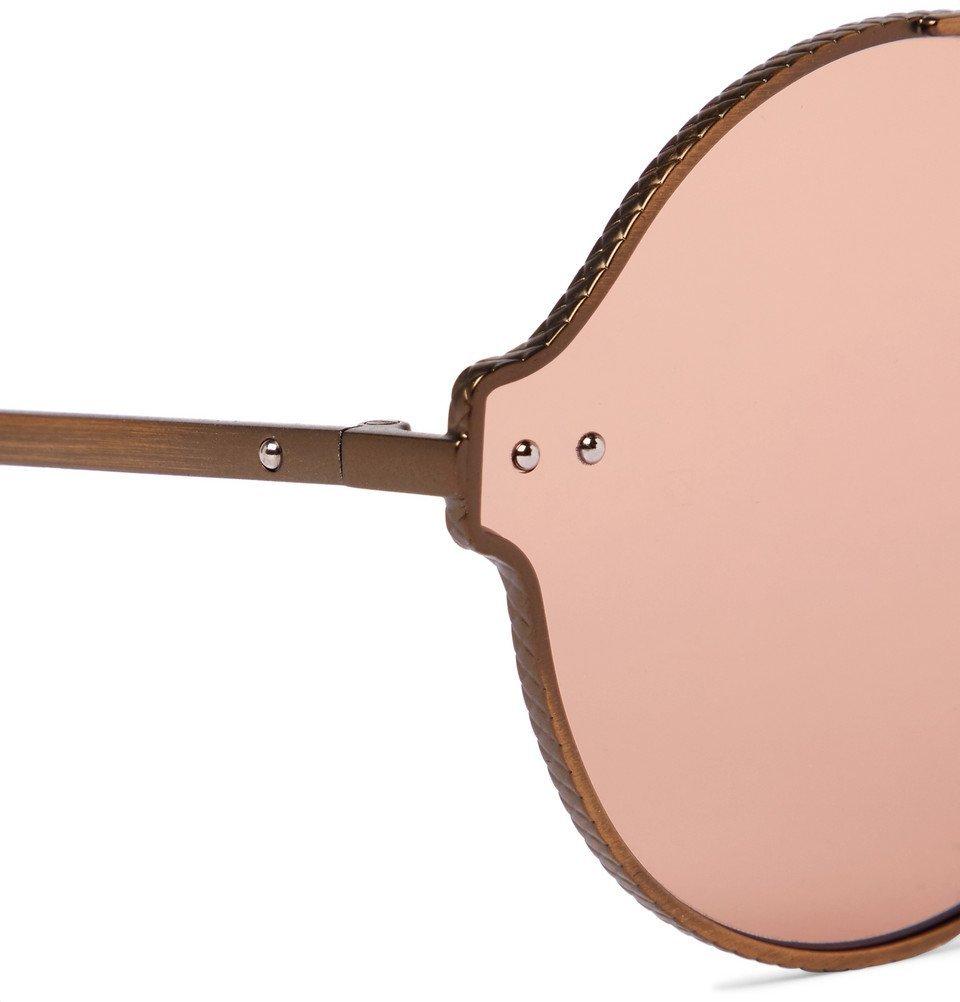 Bottega Veneta - Round-Frame Matte Bronze-Tone Sunglasses - Men - Gold