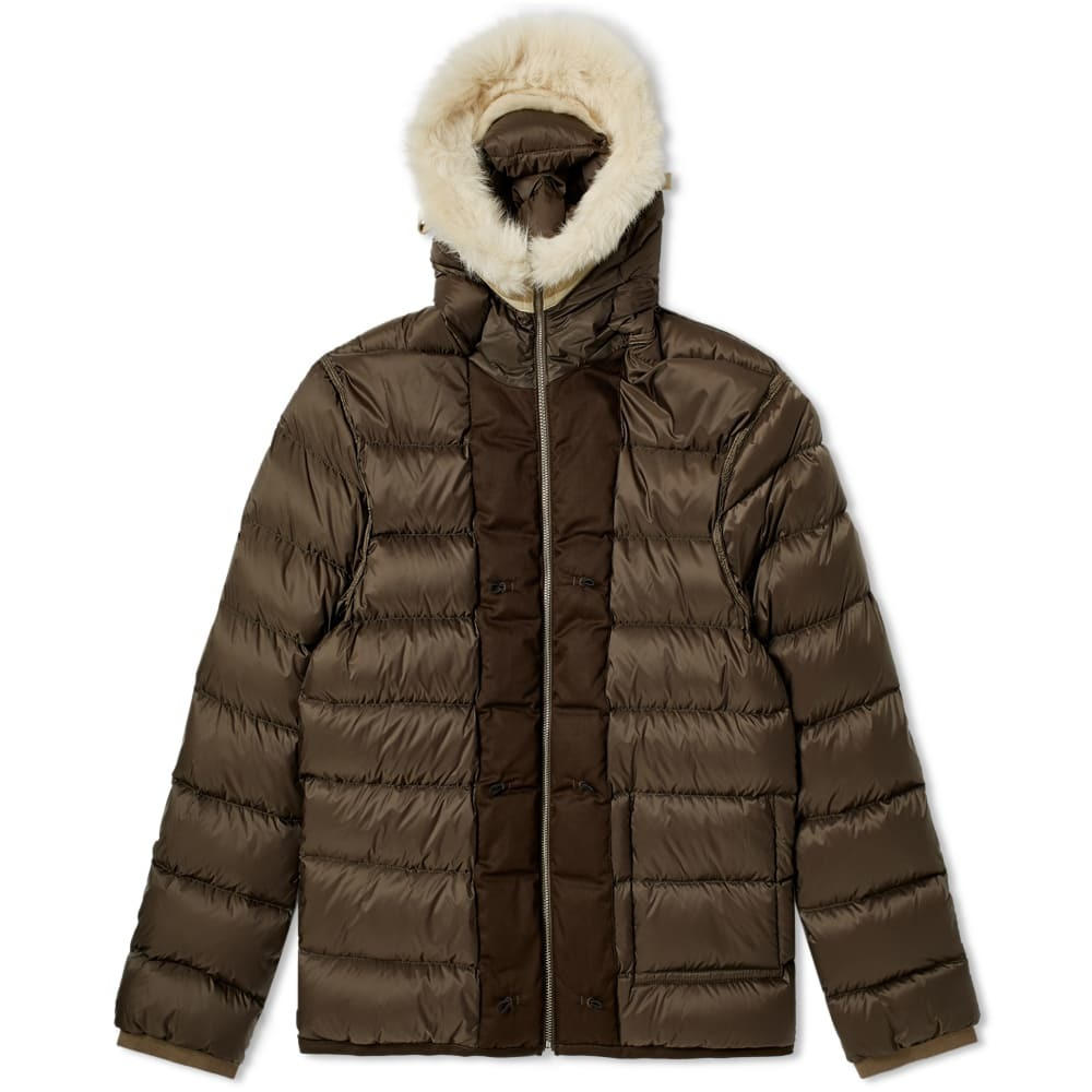 Photo: Ten C Shearling Hooded Down Liner Olive