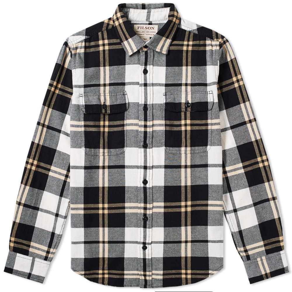Filson Scout Shirt Black, White & Gold Plaid