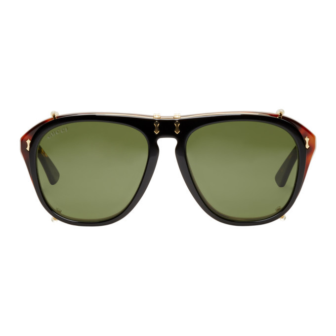 Photo: Gucci Tortoiseshell and Black Opulent Luxury Flip-Up Sunglasses