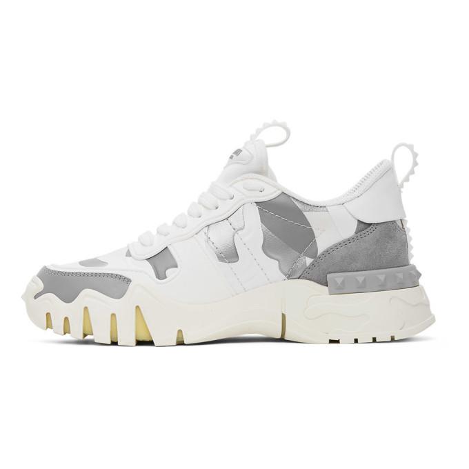 Valentino White and Silver Valentino Garavani Camo Rockrunner Sneakers