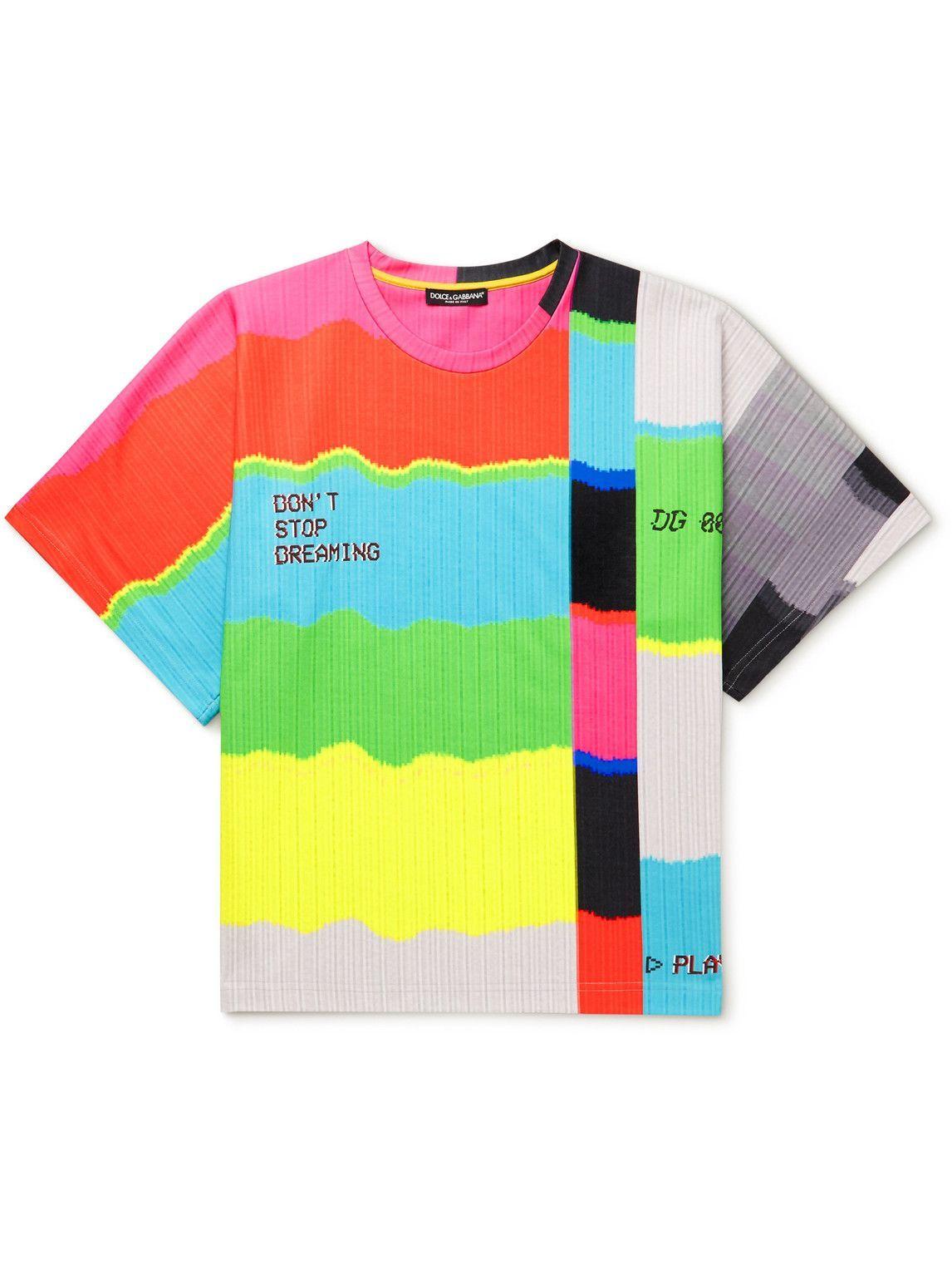 Photo: Dolce & Gabbana - Printed Cotton-Blend Jersey T-Shirt - Multi