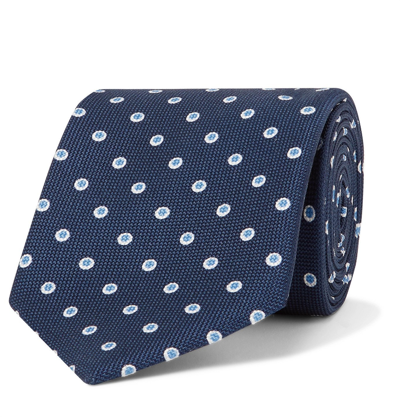 Photo: BRIONI - 8cm Polka-Dot Silk-Jacquard Tie - Blue