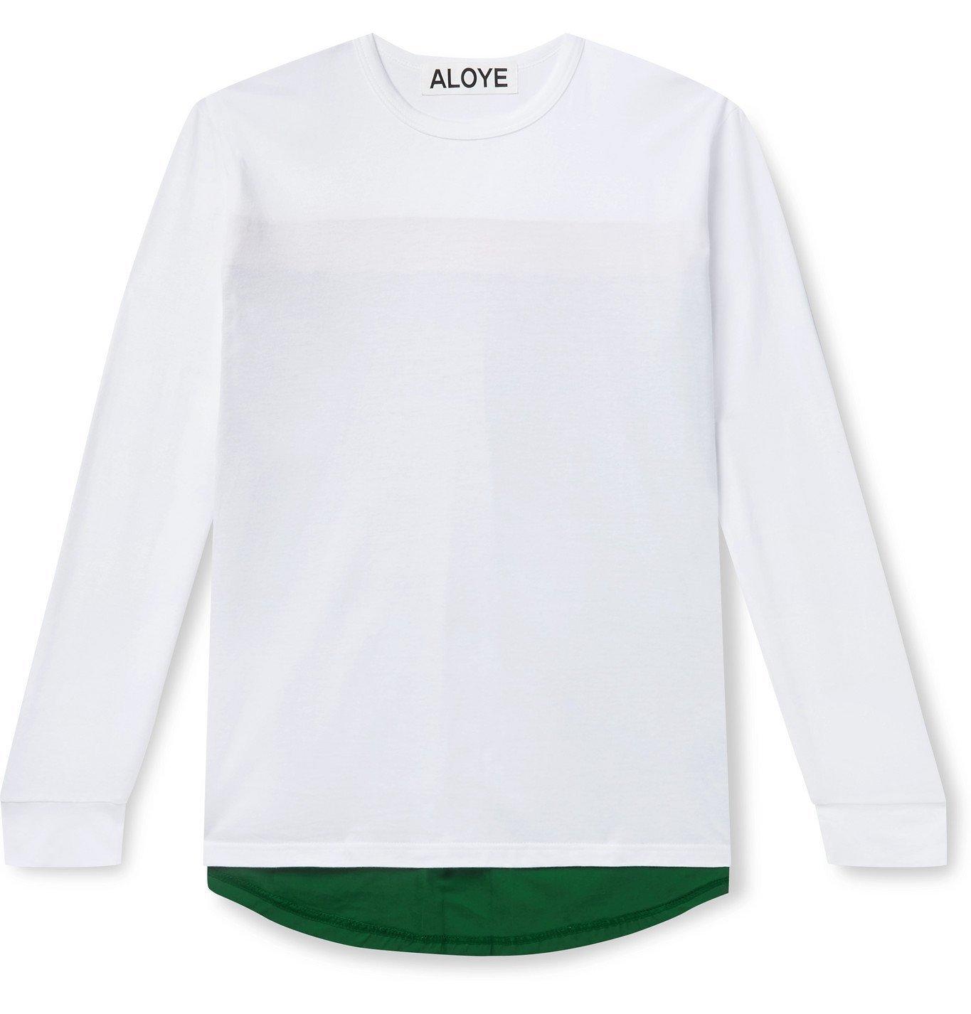 Photo: Aloye - Colour-Blocked Poplin-Panelled Cotton-Jersey T-Shirt - White
