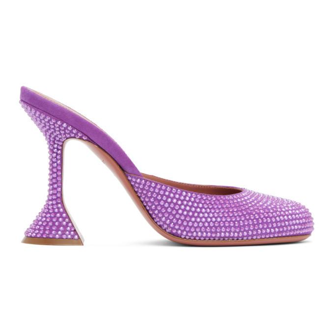 Amina Muaddi Purple Emili Slipper Heels