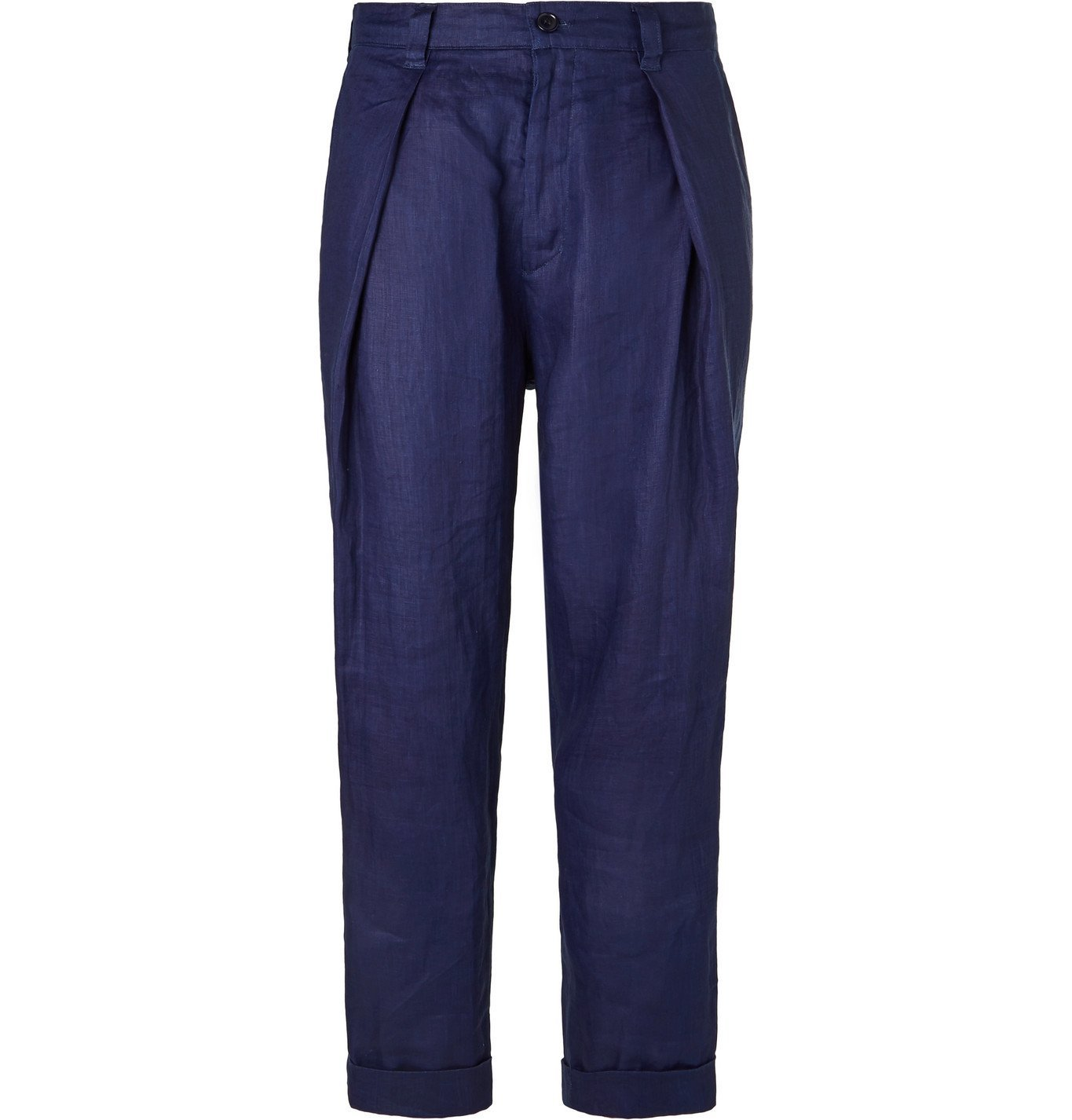Photo: Blue Blue Japan - Indigo-Dyed Tapered Pleated Linen Trousers - Blue