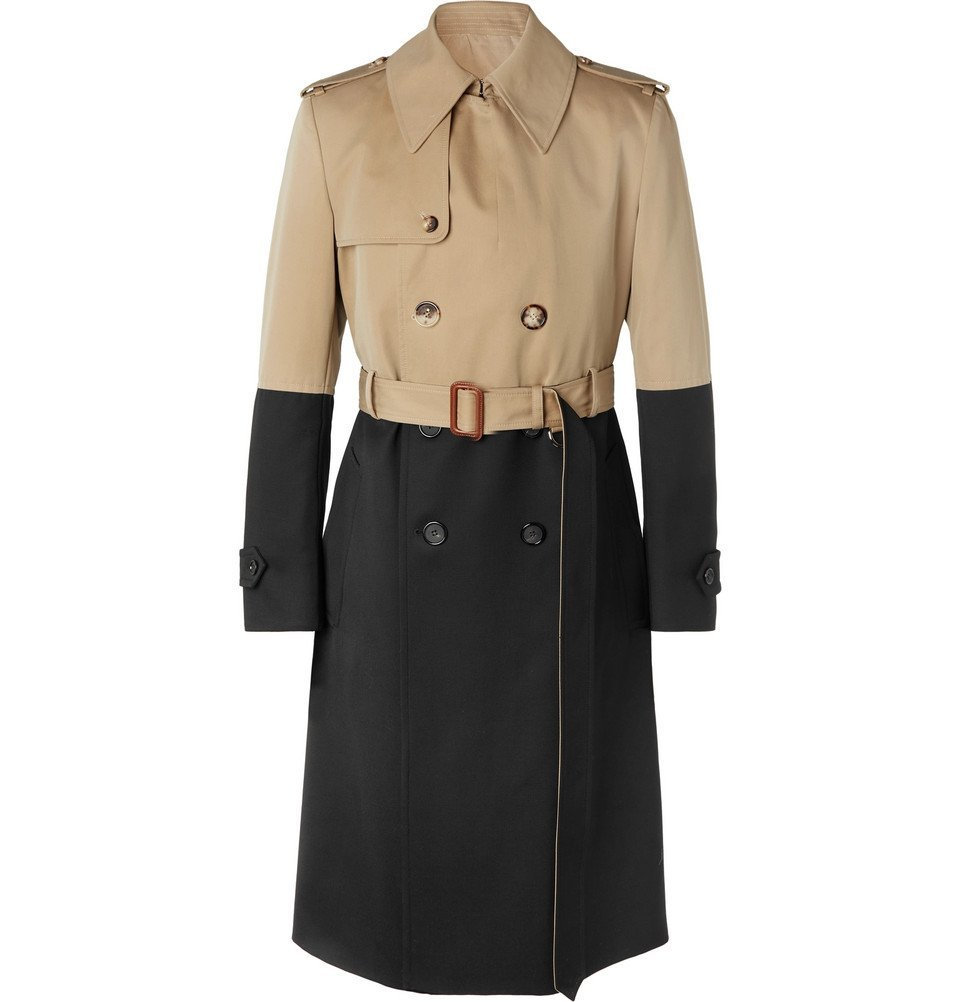 Photo: Alexander McQueen - Colour-Block Cotton-Gabardine and Wool Trench Coat - Beige