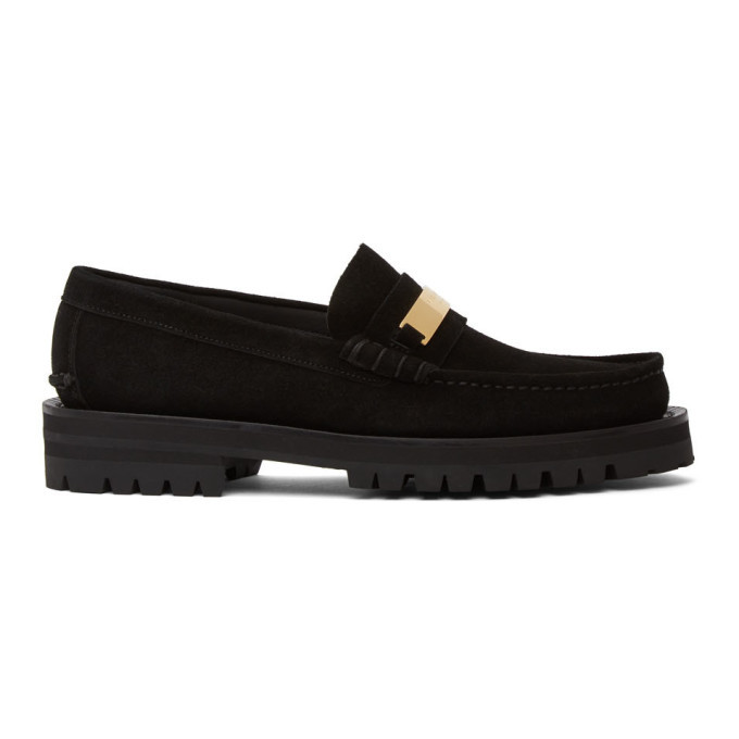 Photo: Versace Black Suede Logo Plate Loafers