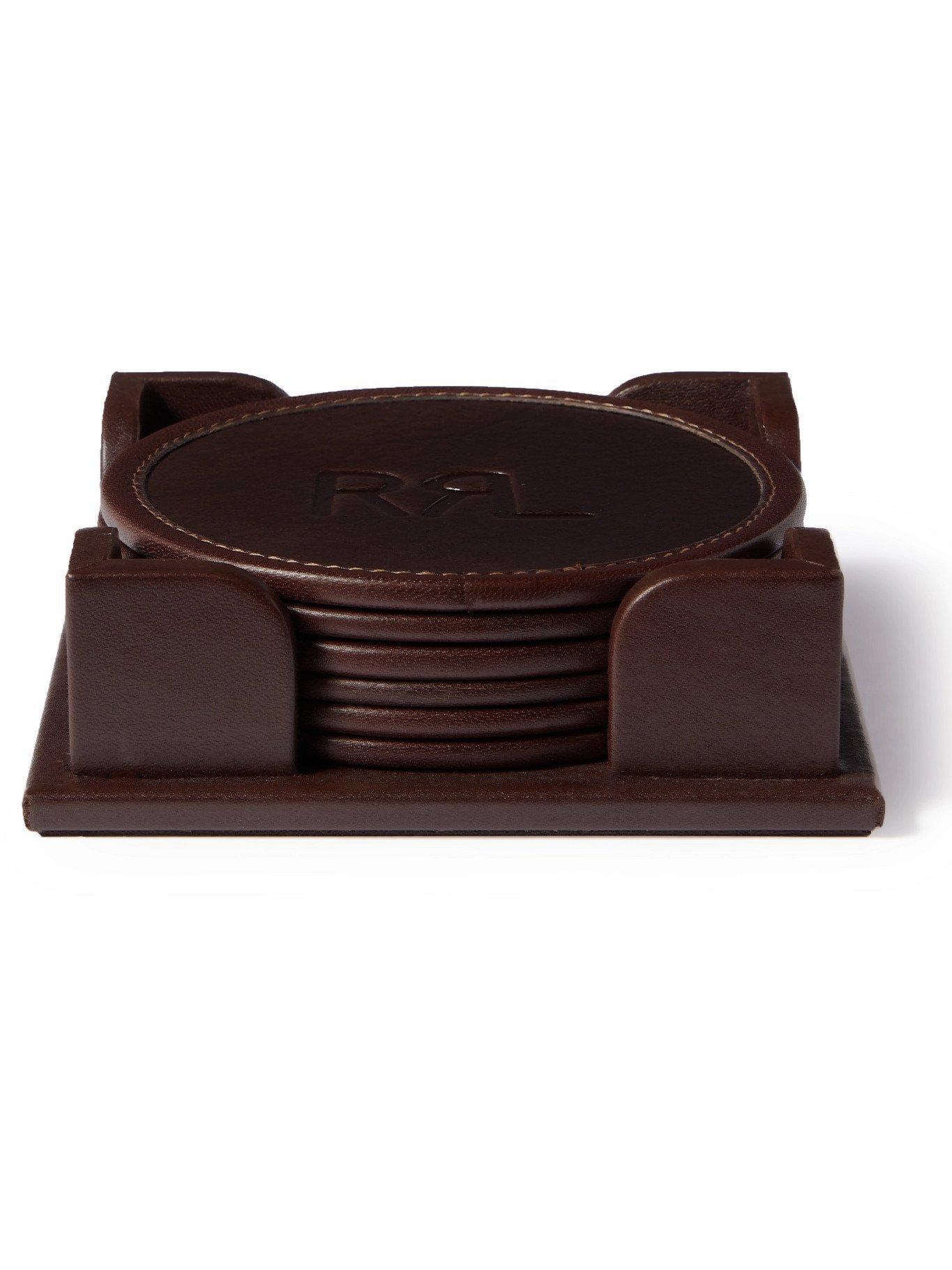 RRL - Set of Six Logo-Debossed Leather Coaster Set - Brown