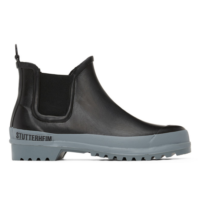 Photo: Stutterheim Black and Grey Rainwalker Chelsea Boots