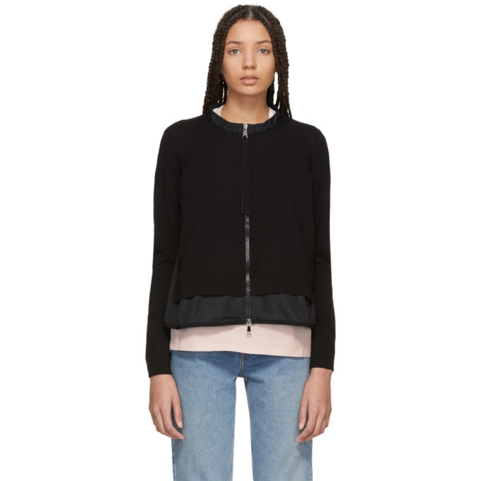 Photo: Moncler Black Hem Detail Zip-Up Sweater
