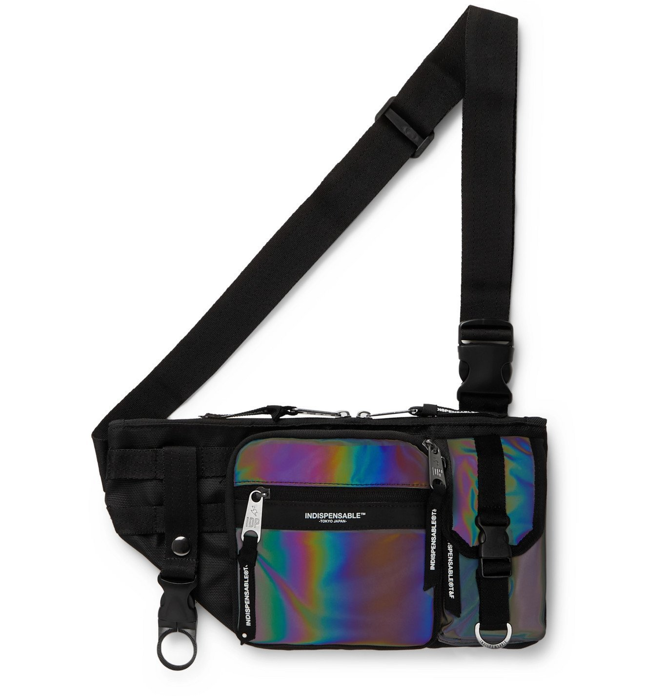 Photo: Indispensable - Armor Iridescent Shell and Canvas Belt Bag - Black