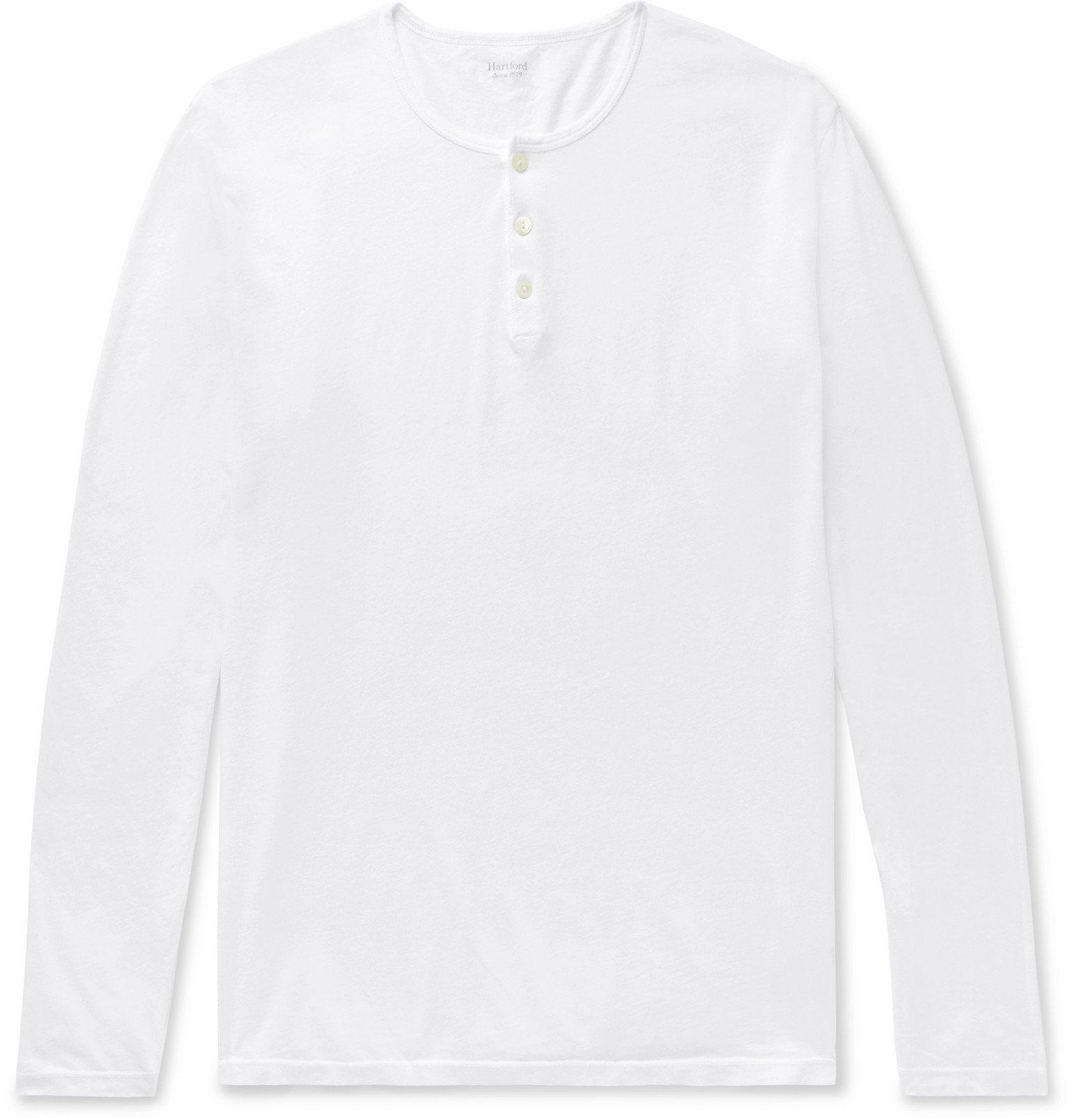 Photo: Hartford - Cotton-Jersey Henley T-Shirt - White