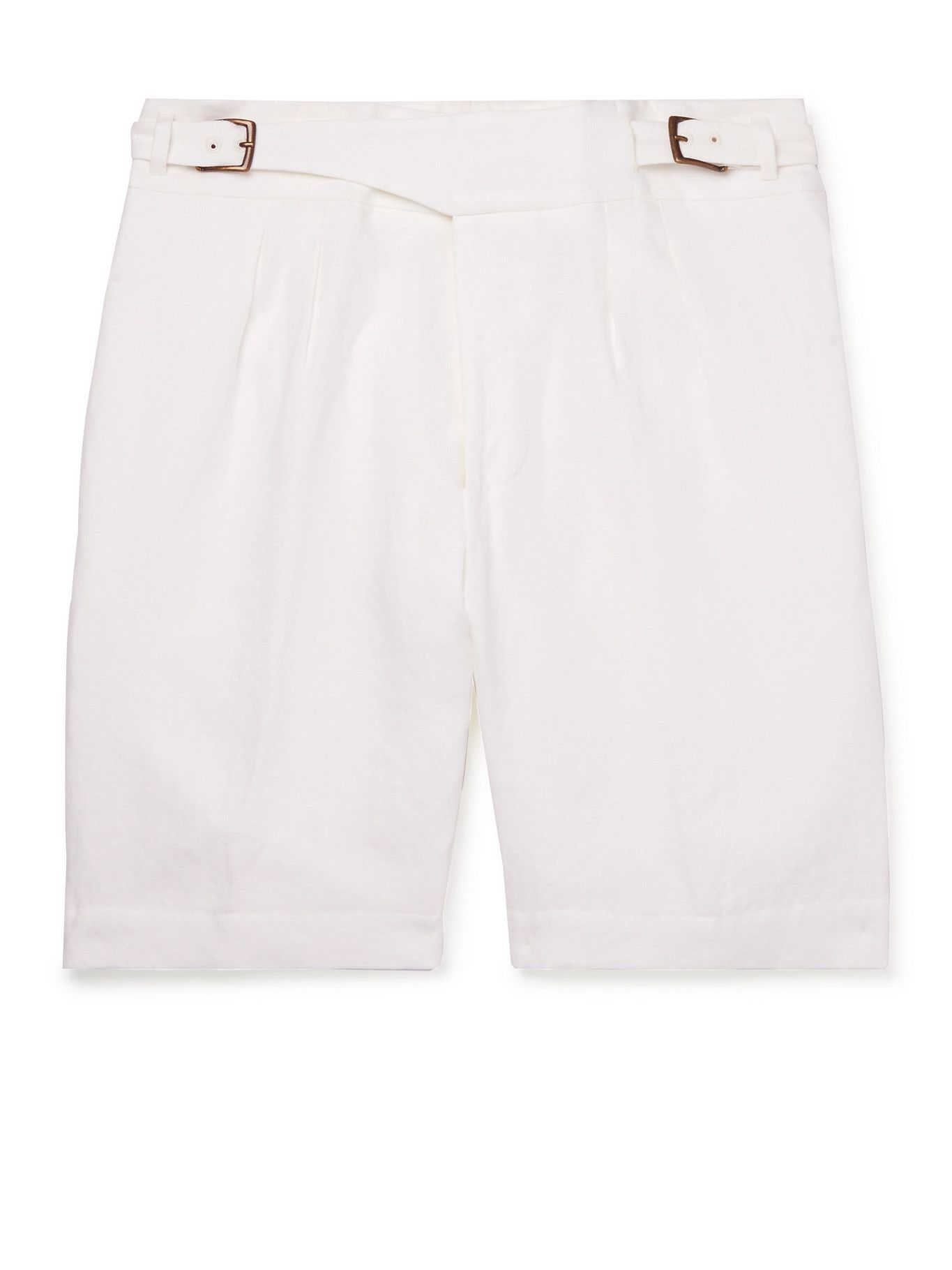 Photo: ANDERSON & SHEPPARD - Gurkha Pleated Linen Shorts - Neutrals