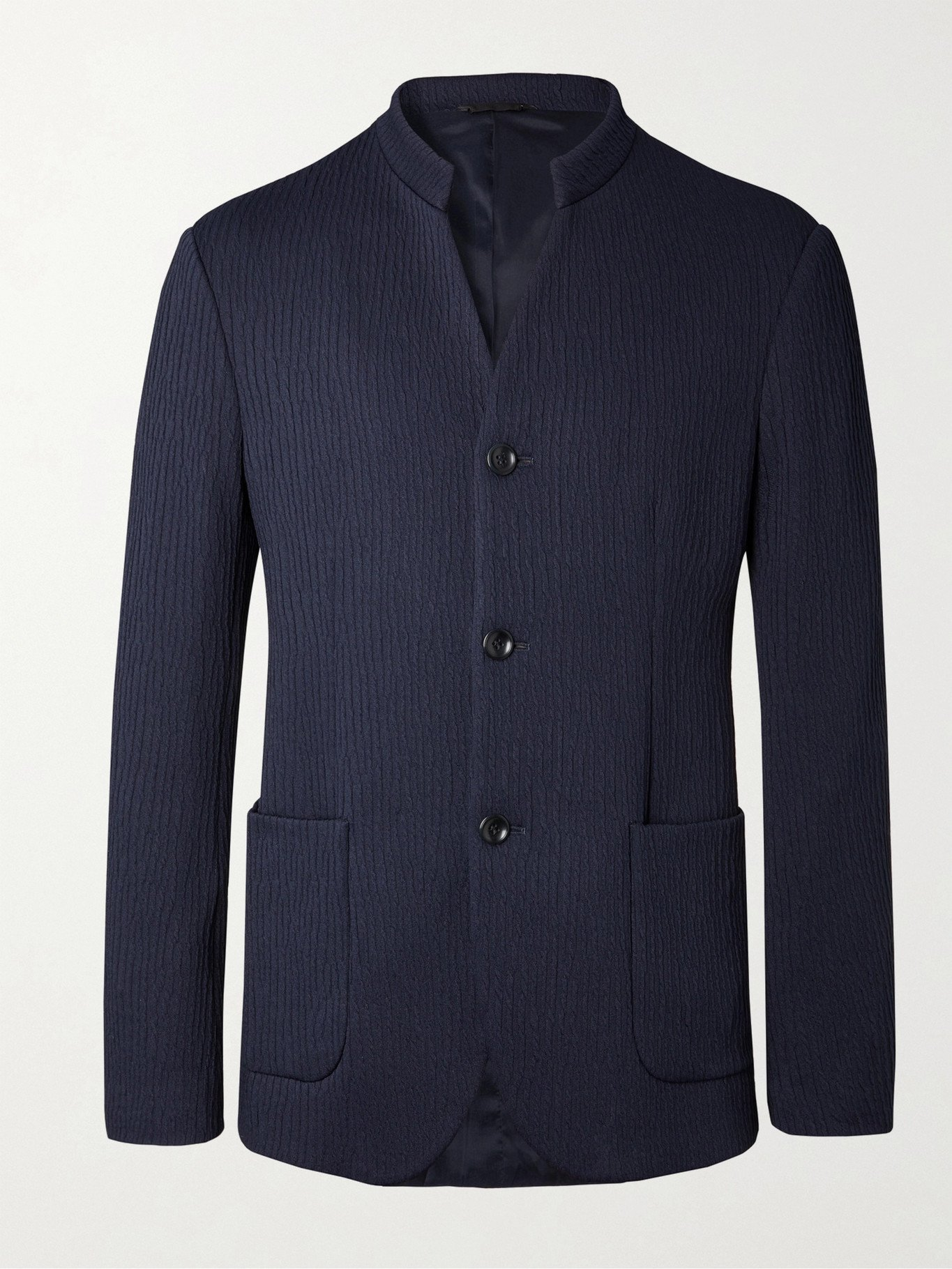 GIORGIO ARMANI - Slim-Fit Mandarin-Collar Unstructured Textured Stretch-Jersey Blazer - Blue