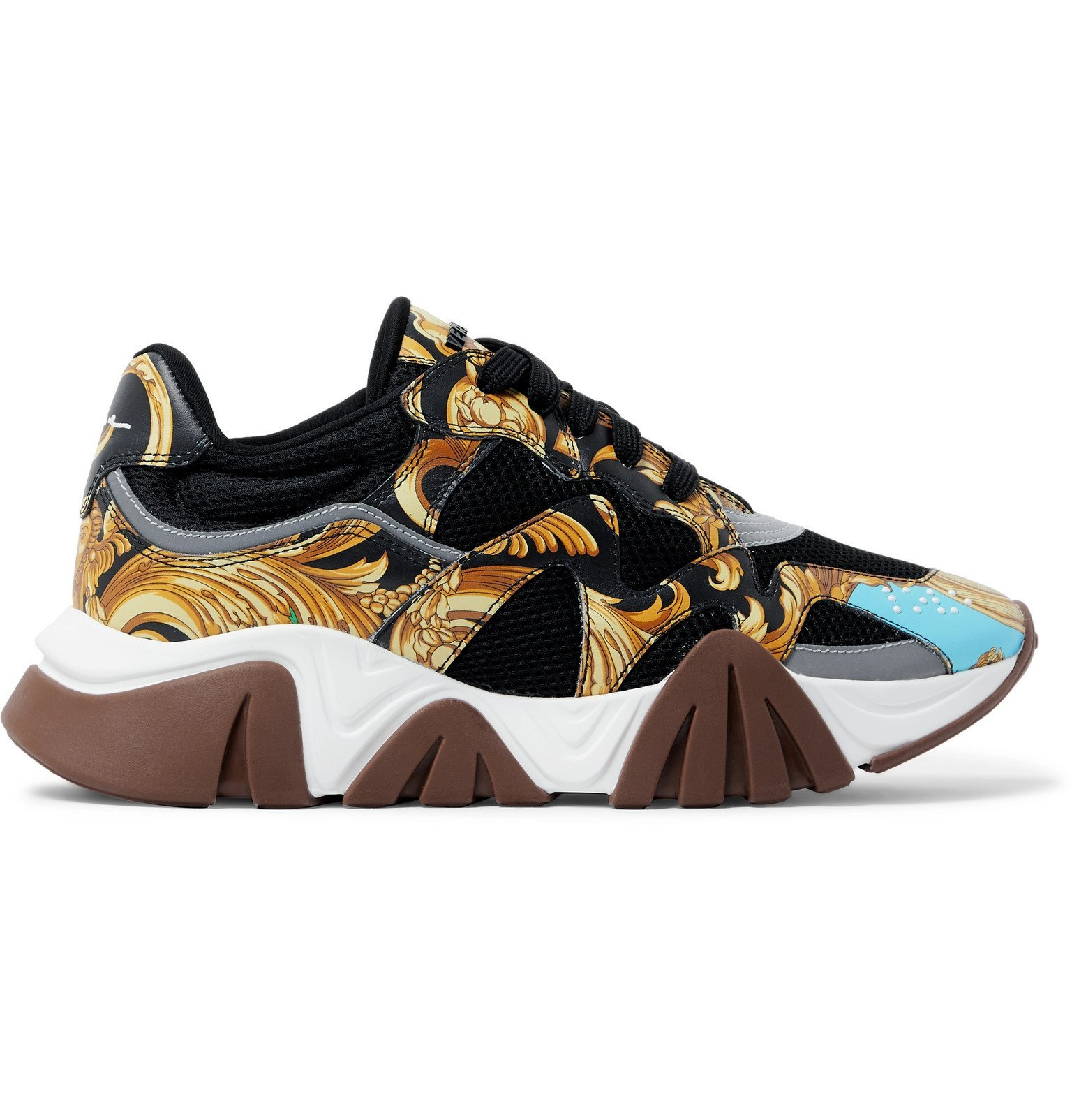 Versace - Squalo Printed Leather and Mesh Sneakers - Black