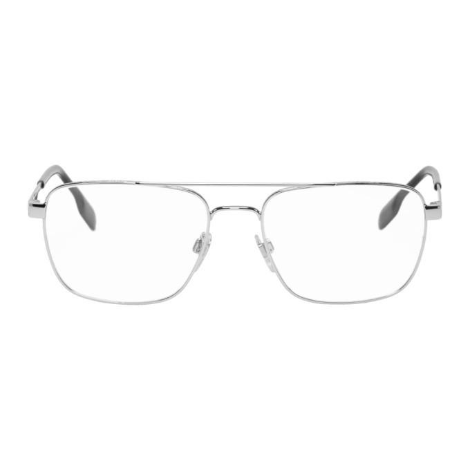 Photo: Burberry Silver and Black Navigator Glasses