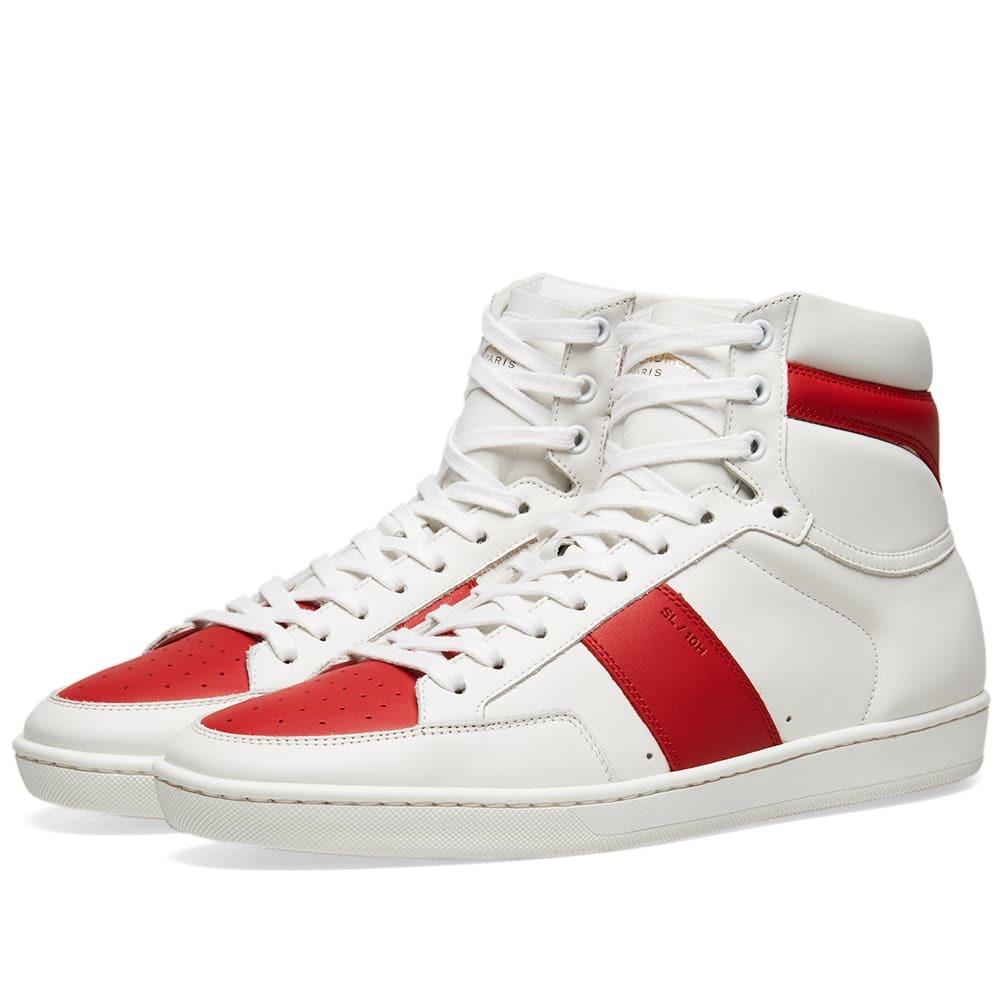 Photo: Saint Laurent SL-10H Court Classic Sneaker White & Red