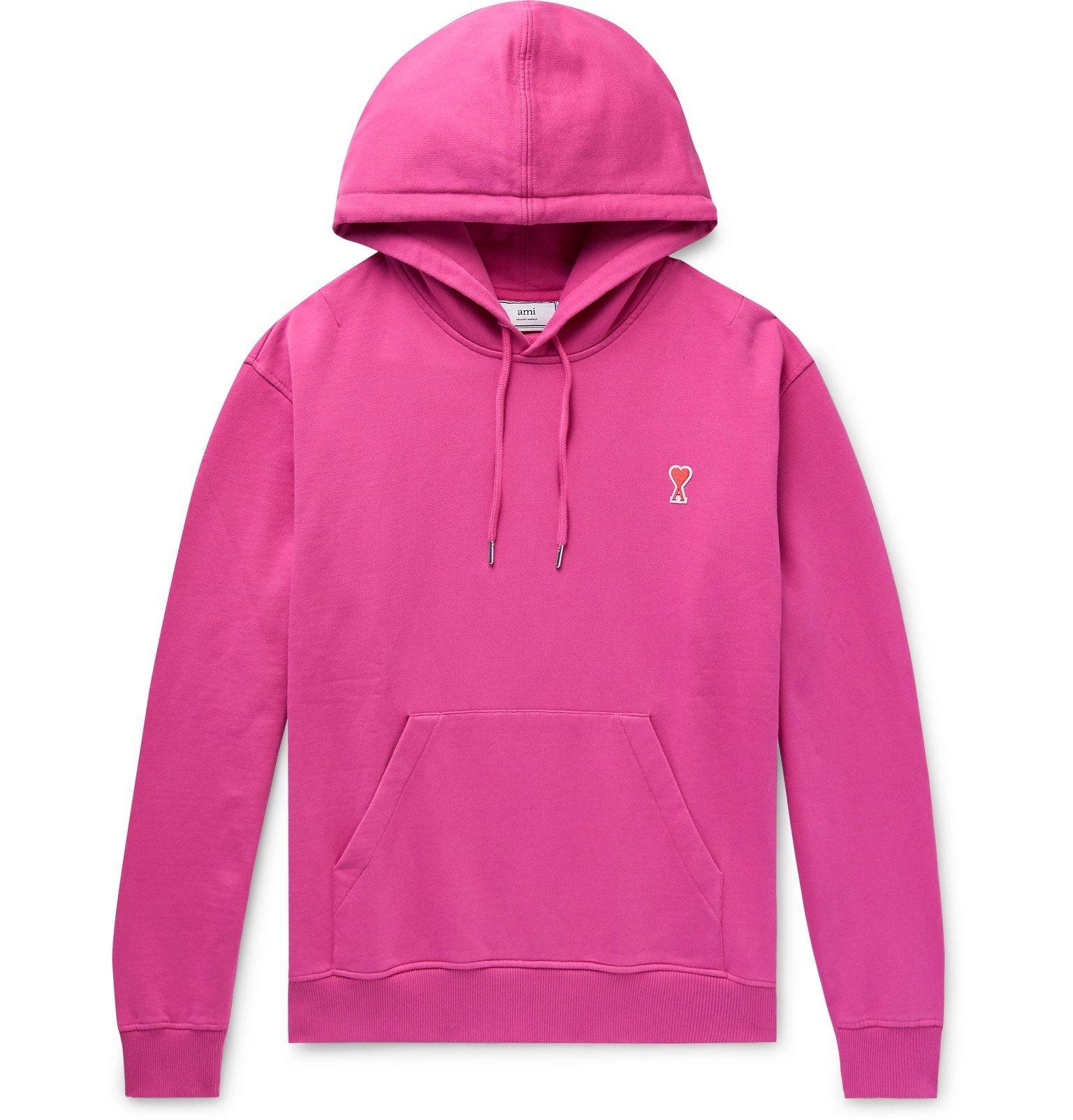 Photo: AMI - Logo-Appliquéd Loopback Cotton-Jersey Hoodie - Pink