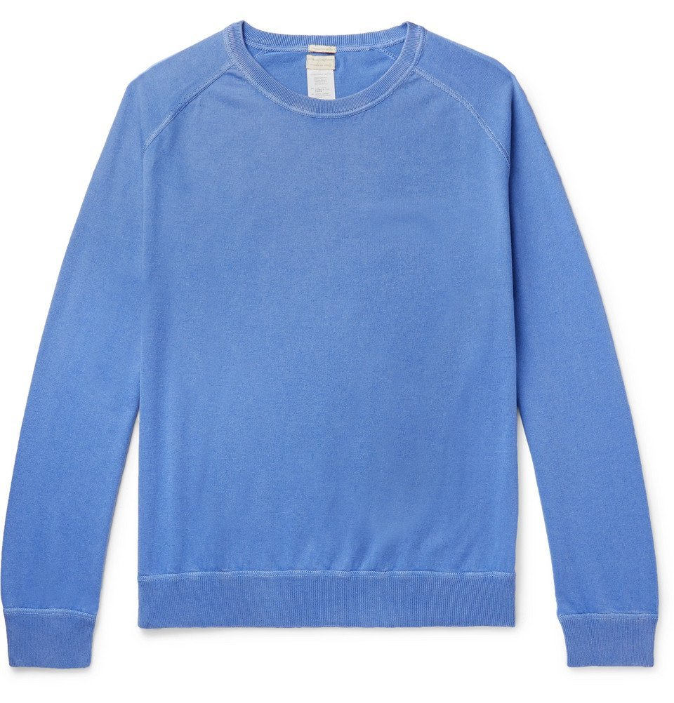 Photo: Massimo Alba - Garment-Dyed Cotton and Cashmere-Blend Sweater - Blue