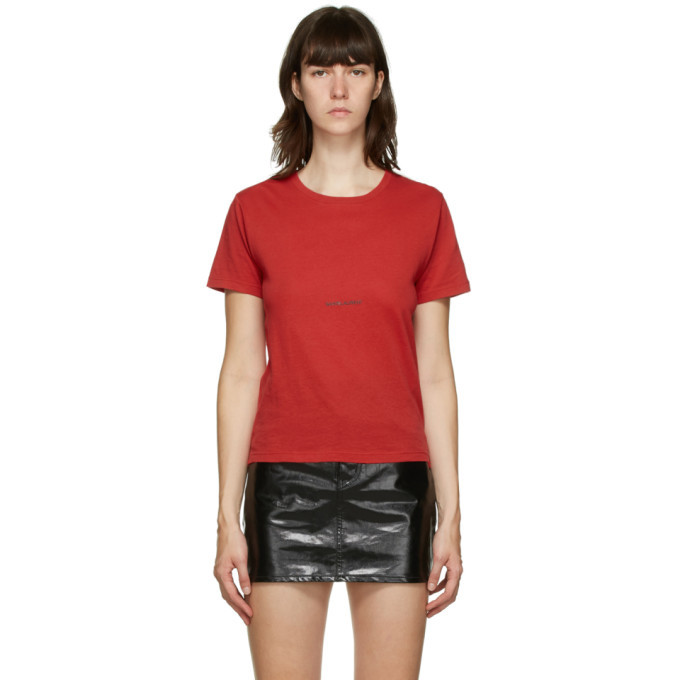 Photo: Saint Laurent Red Logo T-Shirt