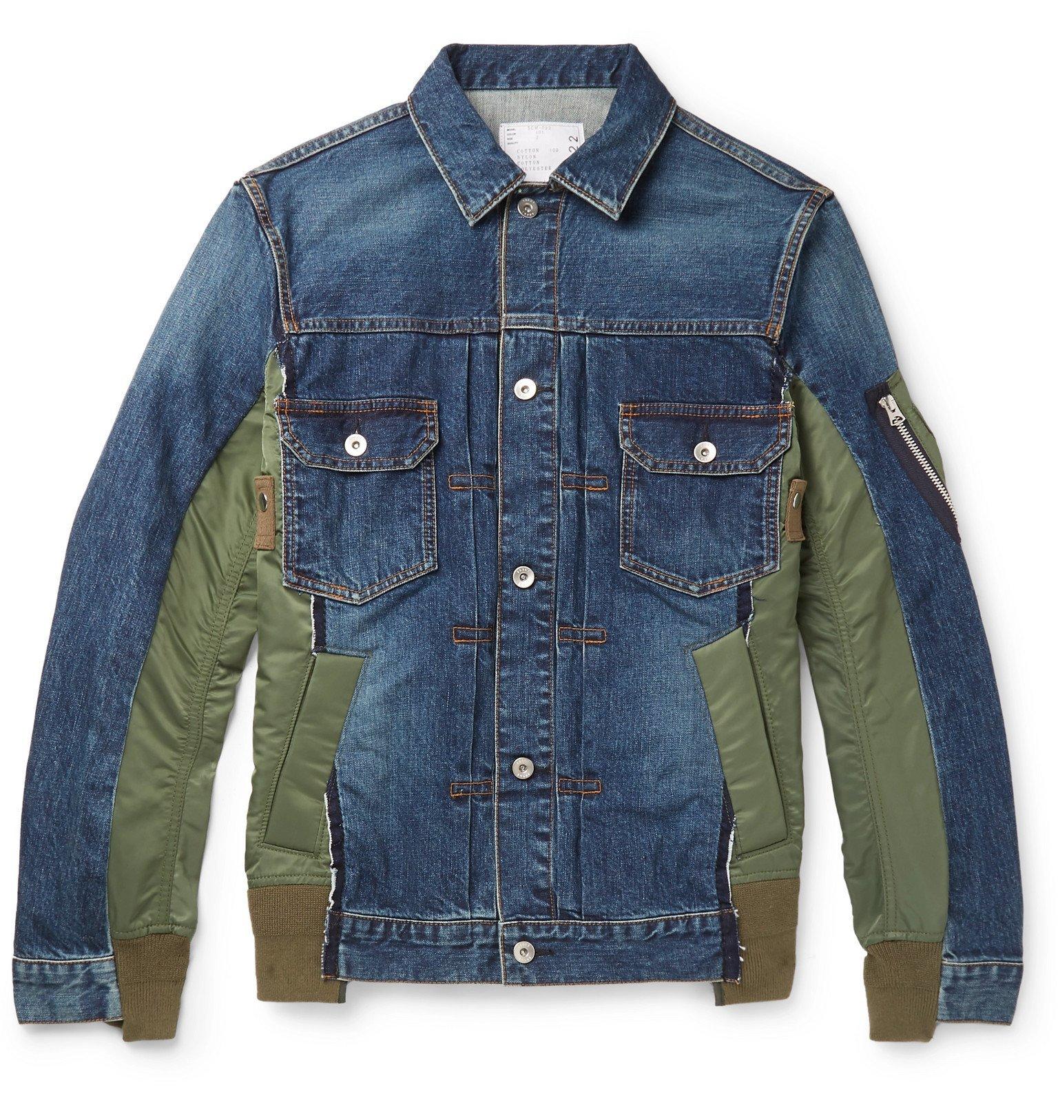 Photo: Sacai - Nylon-Panelled Distressed Denim Jacket - Blue