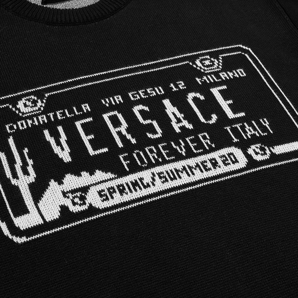Versace Number Plate Intarsia Crew Knit