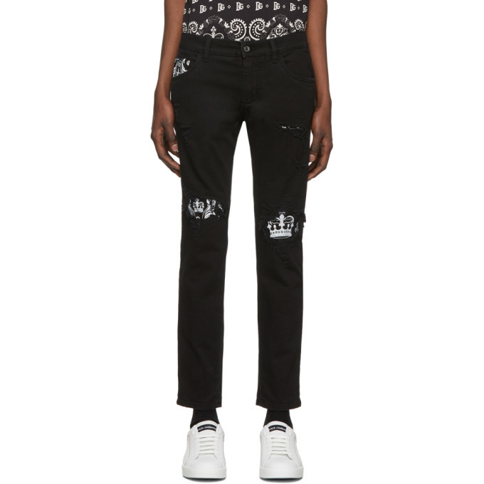 Photo: Dolce and Gabbana Black Bandana Print Skinny Jeans
