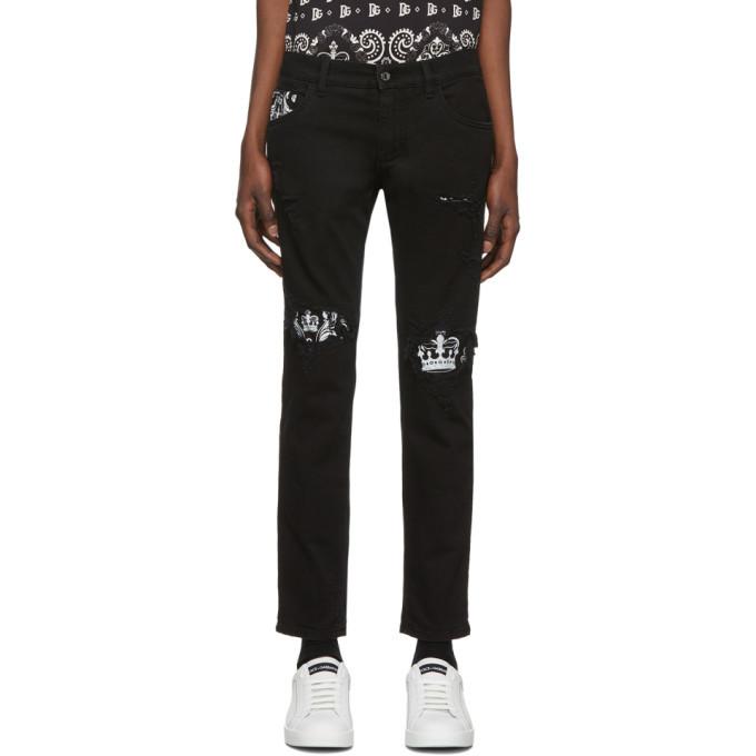 Photo: Dolce and Gabbana Black Bandana Print Skinny Jeans
