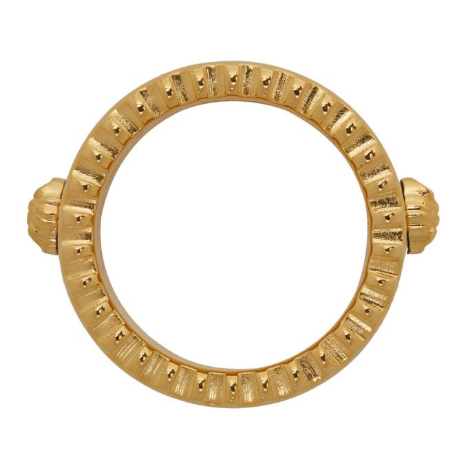 Versace Gold and Black Logo Band Ring