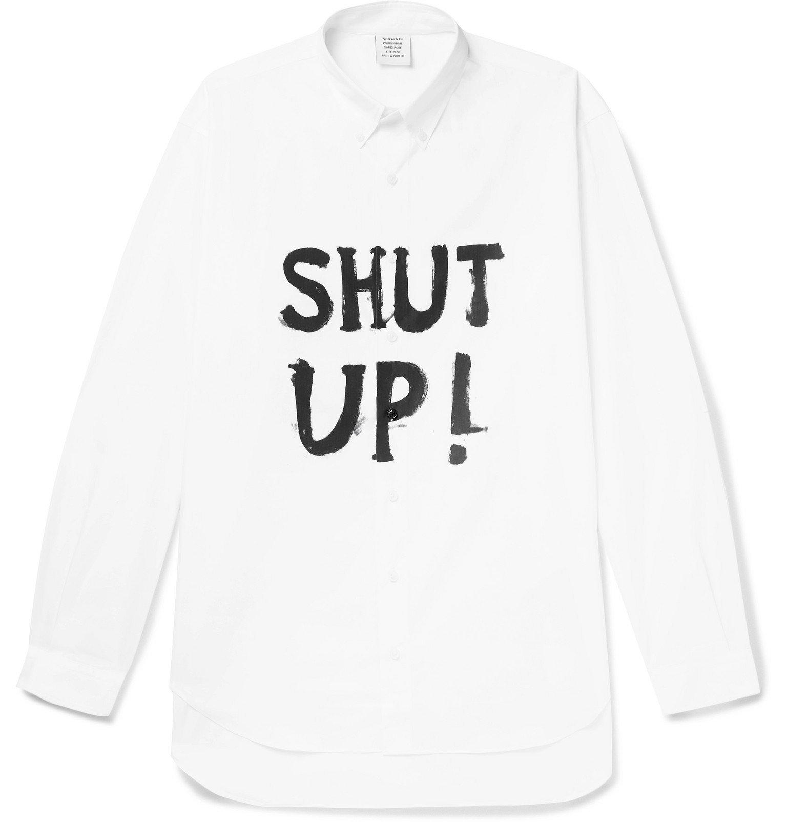 Photo: Vetements - Button-Down Collar Printed Cotton-Poplin Shirt - White