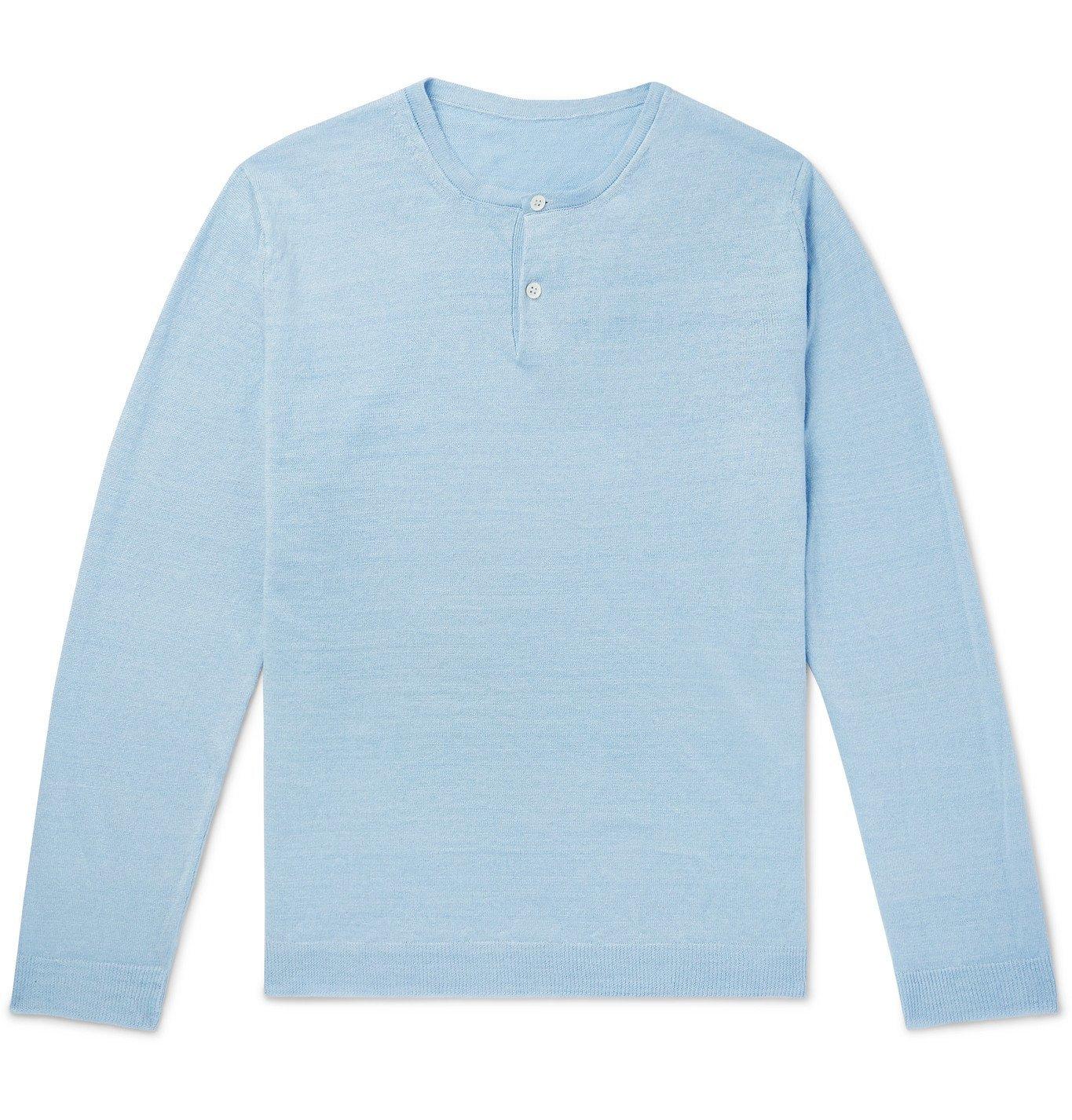 Photo: Anderson & Sheppard - Linen Henley T-Shirt - Blue
