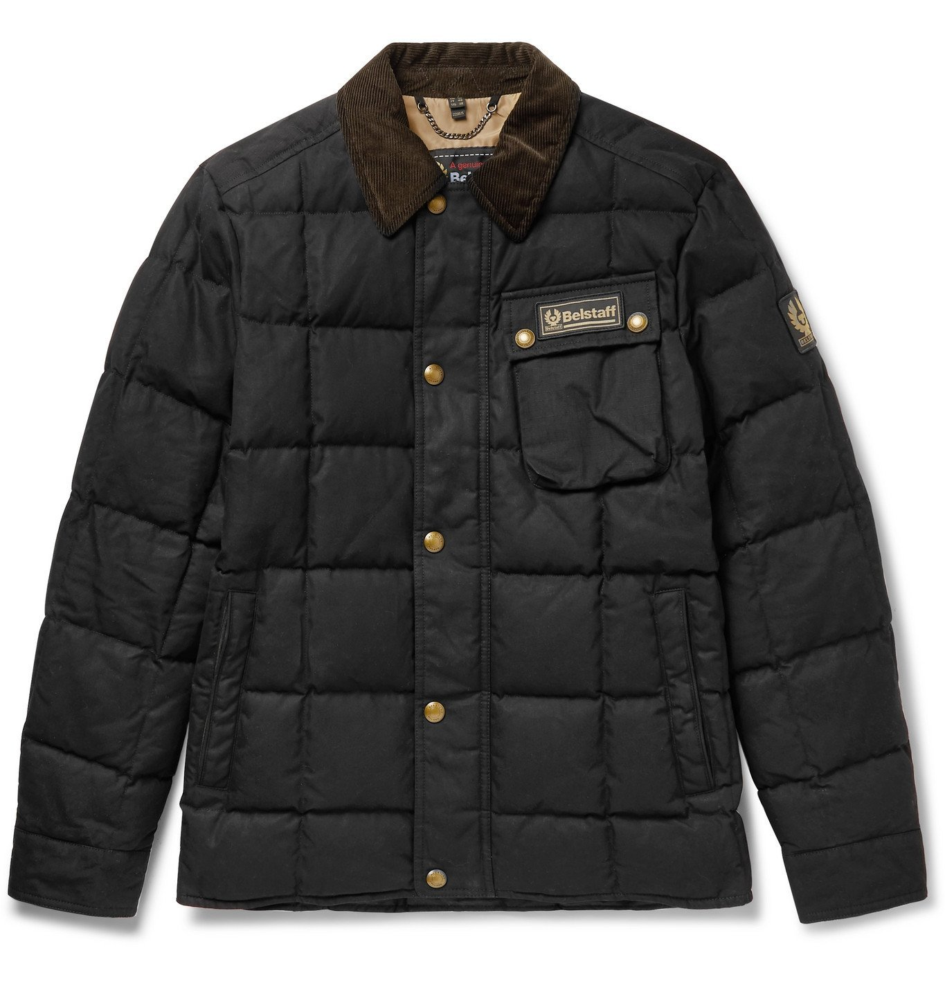 Photo: Belstaff - Ranger Cotton Corduroy-Trimmed Quilted Cotton-Canvas Down Jacket - Black