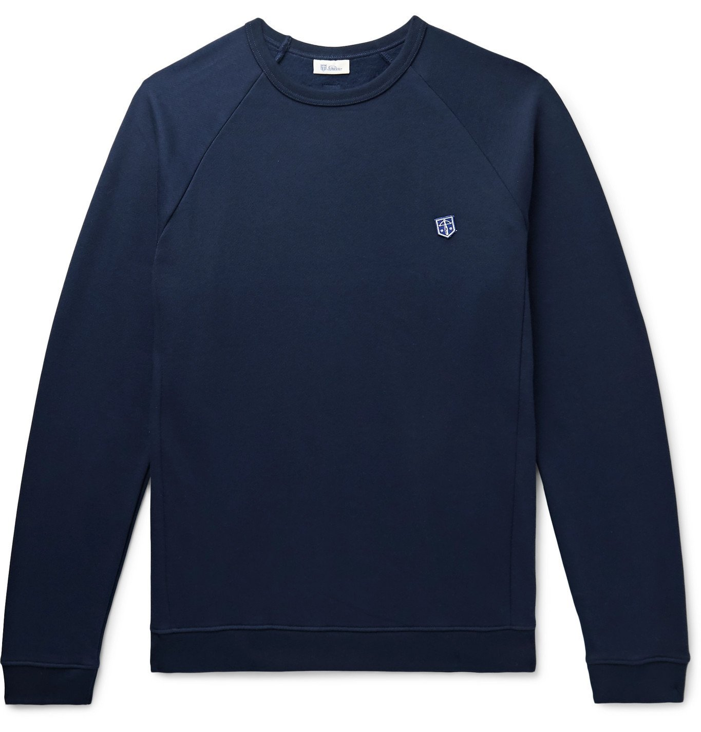 Photo: Schiesser - Vincent Logo-Appliquéd Fleece-Back Cotton-Jersey Sweatshirt - Blue