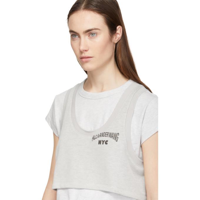 alexanderwang.t Grey Bi-Layer Crop Top