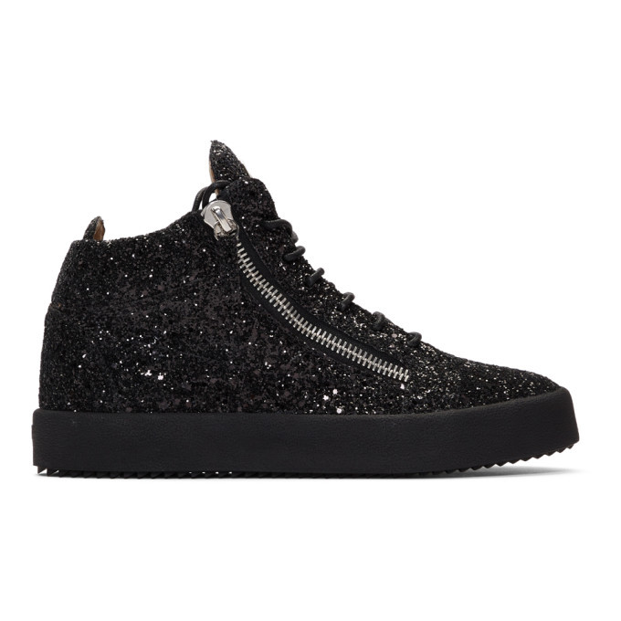 Photo: Giuseppe Zanotti Black Glitter Kriss High-Top Sneakers