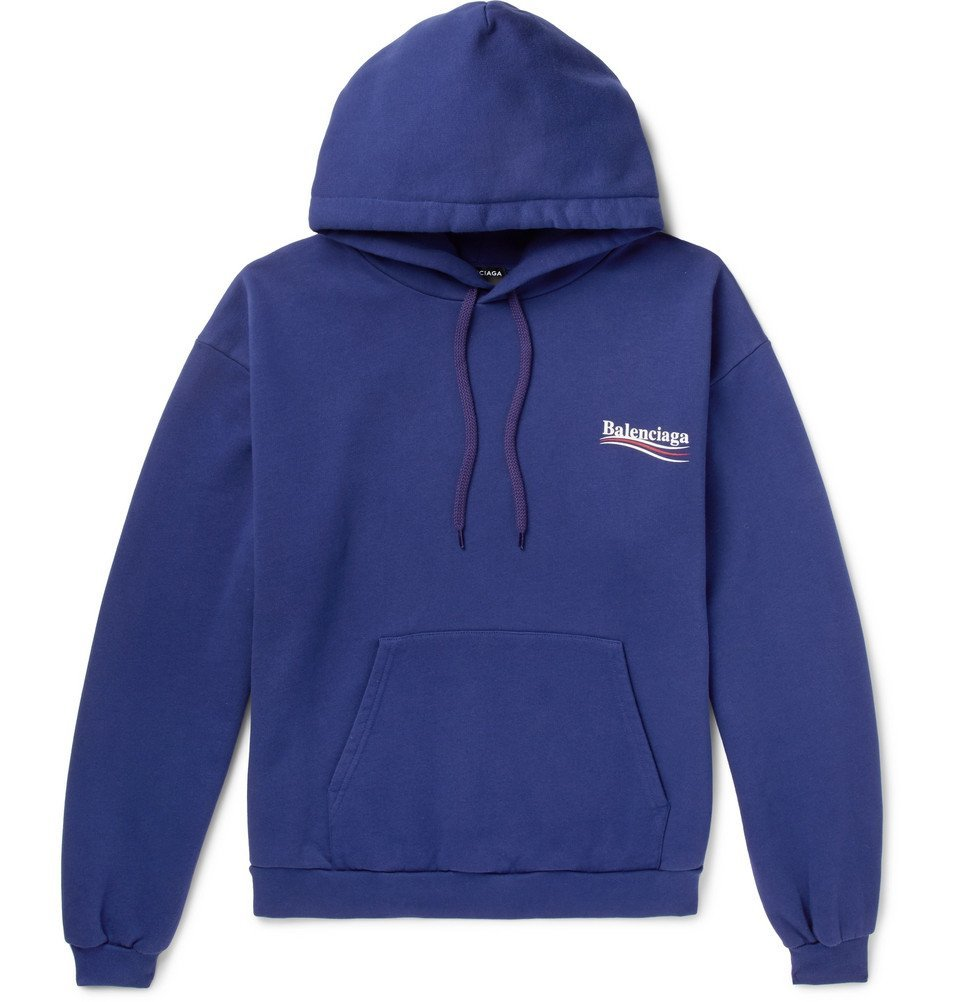 Photo: Balenciaga - Printed Cotton-Blend Jersey Hoodie - Blue