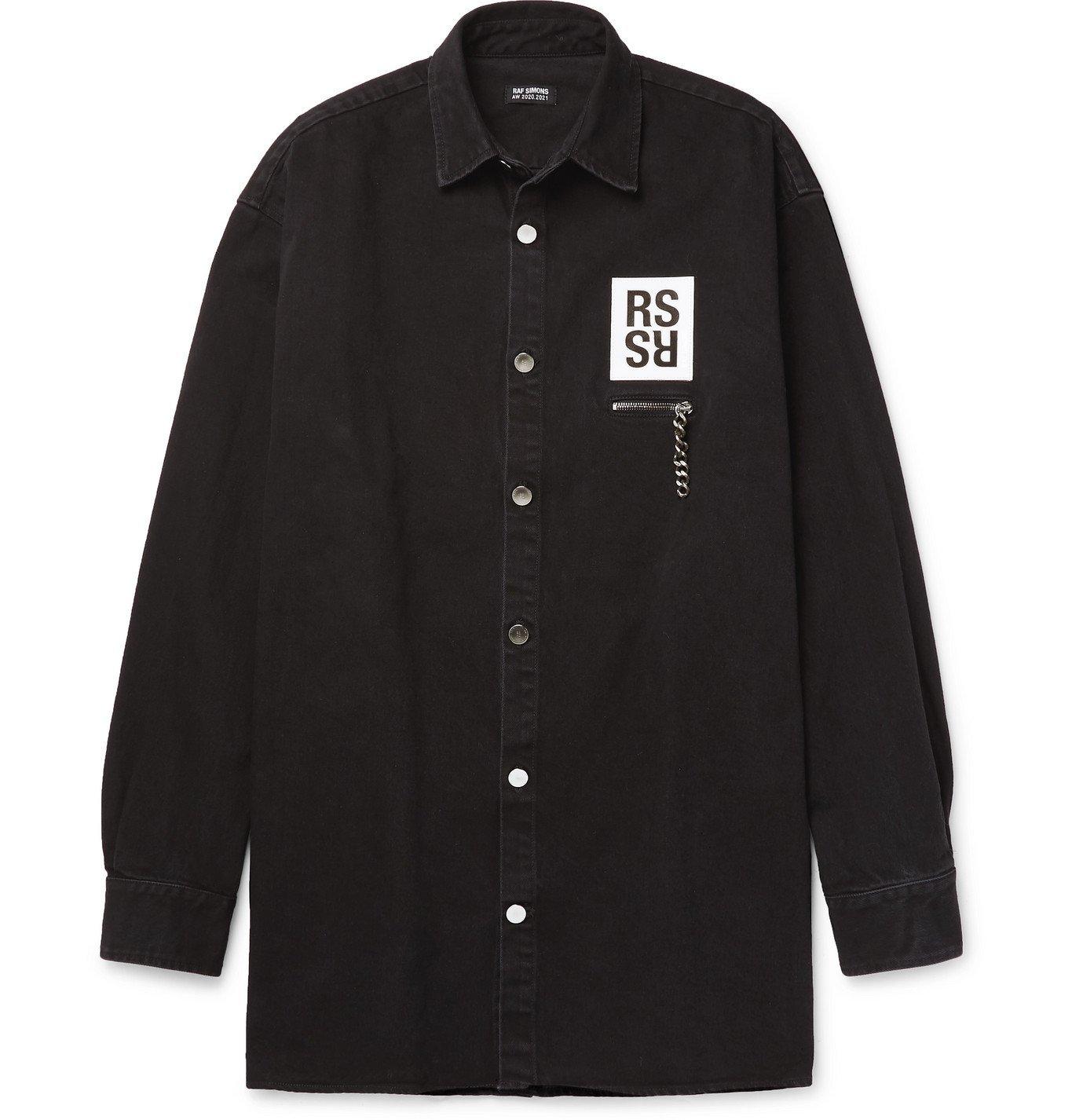Raf Simons - Appliquéd Printed Denim Shirt - Black