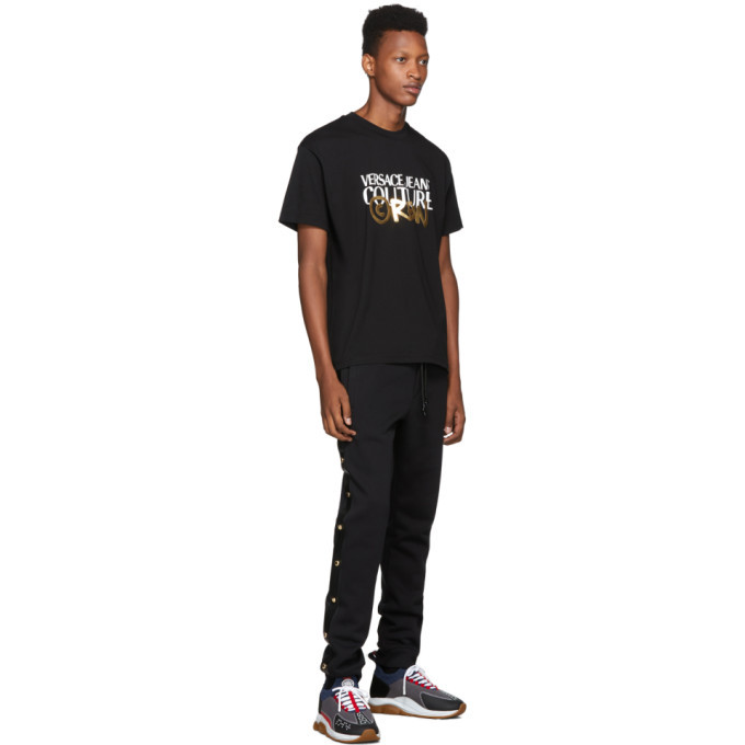 Versace Jeans Couture Black and Gold Crew T-Shirt