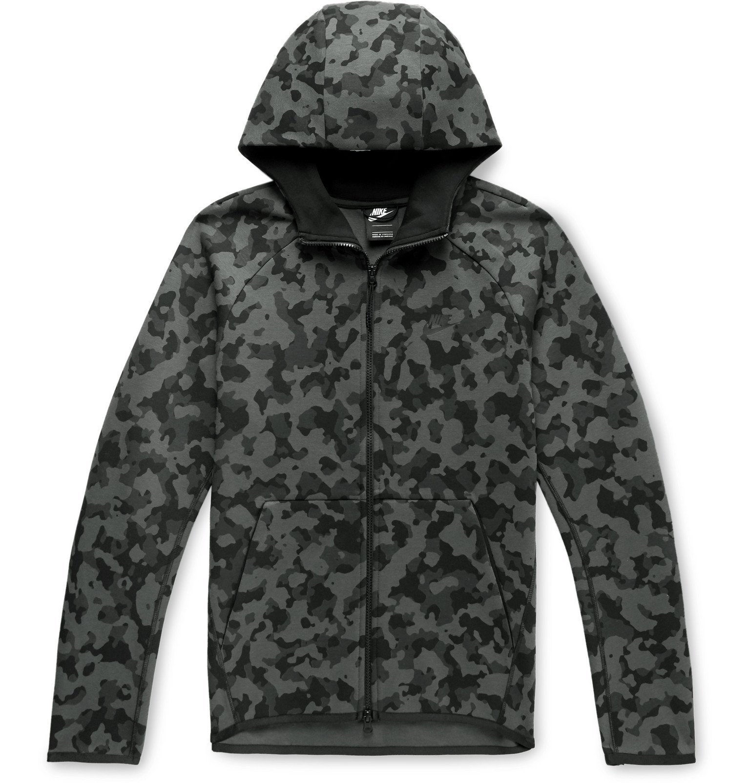 Photo: Nike - Camouflage-Print Cotton-Blend Tech Fleece Zip-Up Hoodie - Gray