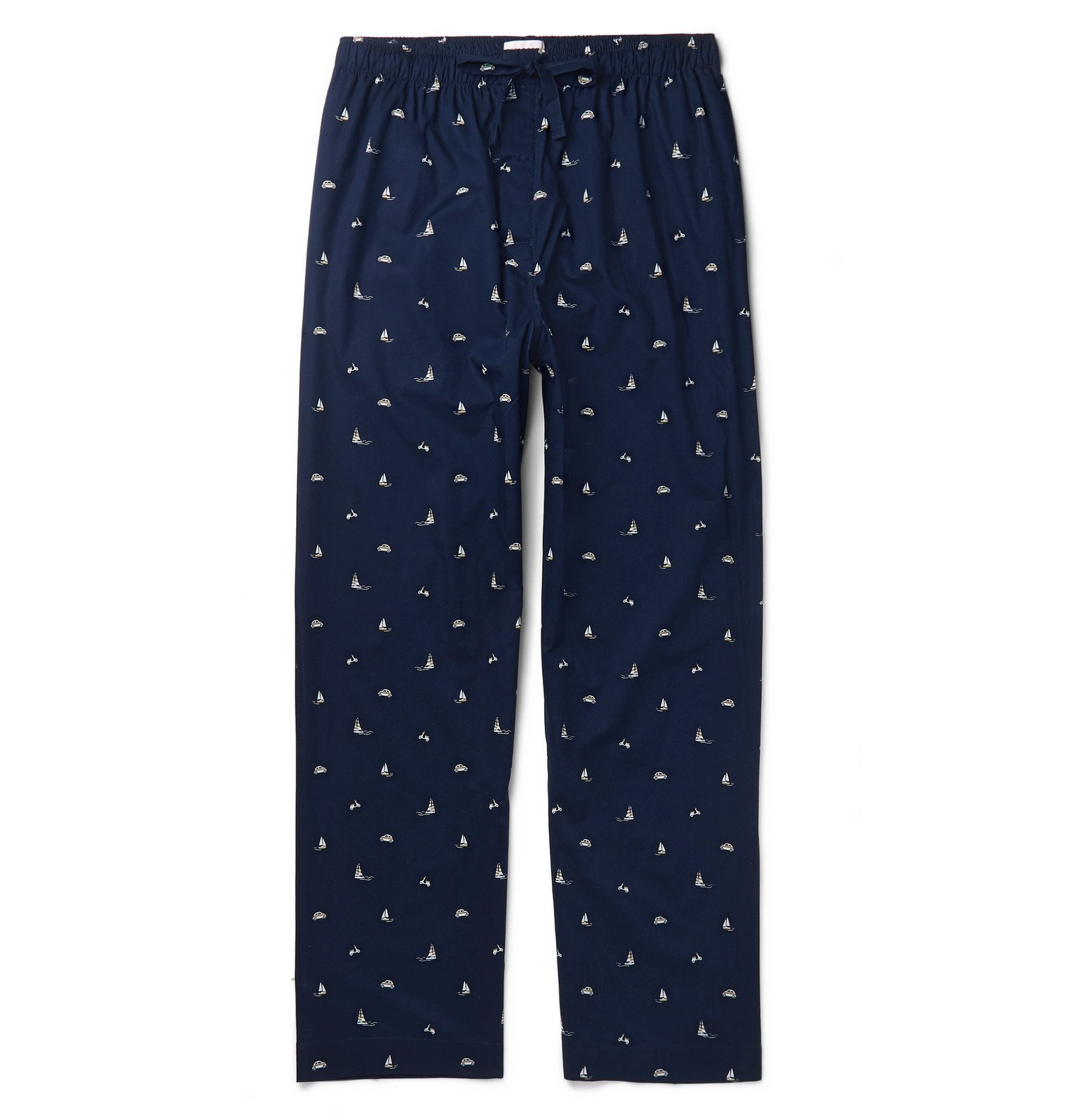 Photo: Derek Rose - Nelson 73 Printed Cotton-Poplin Pyjama Trousers - Blue
