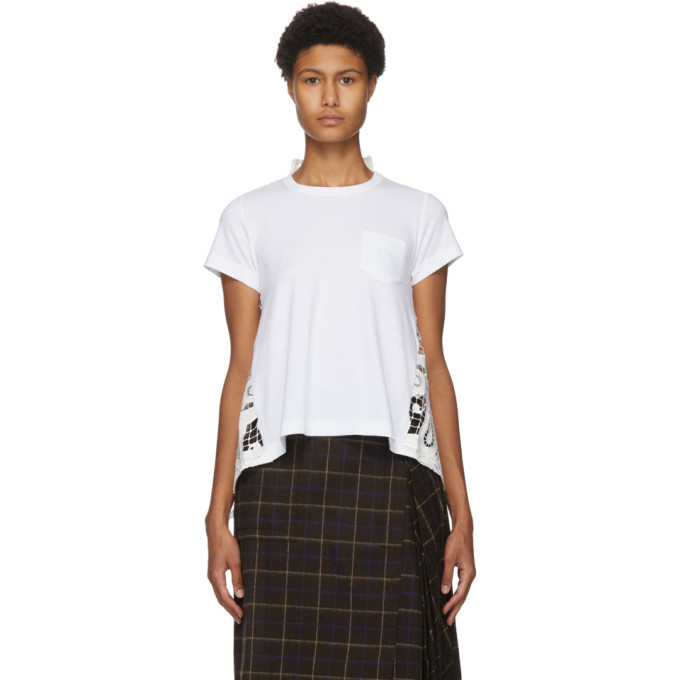 Sacai White Lace Paisley Back T-Shirt