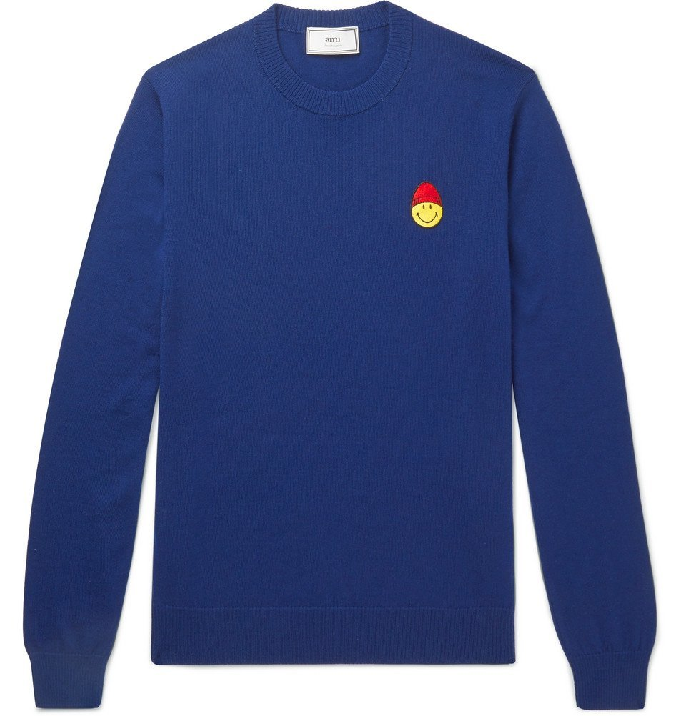 Photo: AMI - The Smiley Company Slim-Fit Logo-Embroidered Merino Wool Sweater - Men - Blue