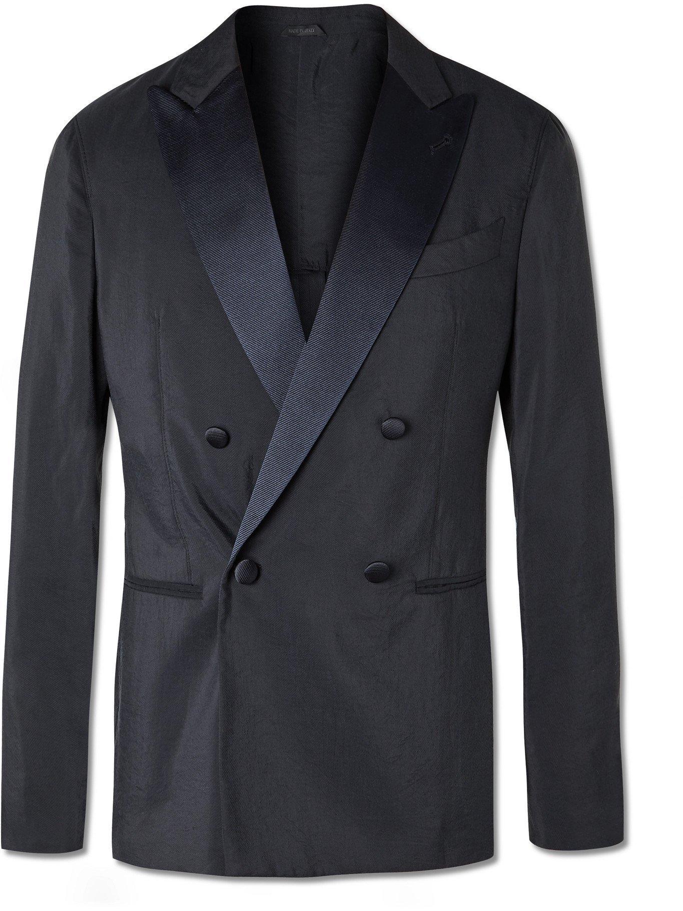 GIORGIO ARMANI - Slim-Fit Double-Breasted Faille-Trimmed Silk-Blend Twill Tuxedo Jacket - Blue - IT 46